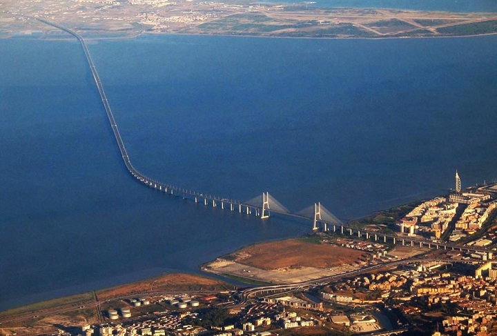Vasco da Gama Bridge. Europes longest bridge,
