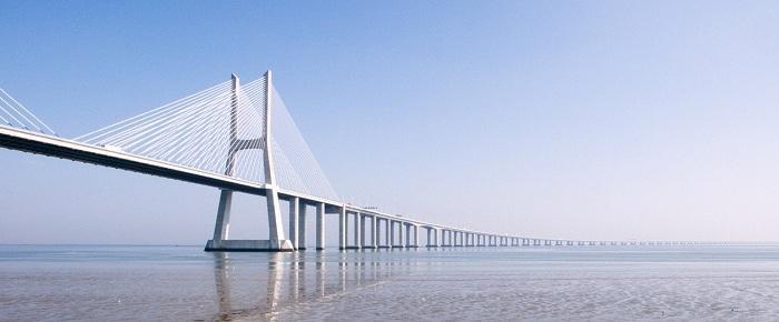 Vasco da Gama Bridge. Europes longest bridge,