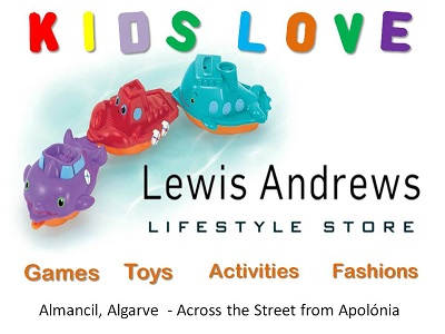 lewis andrews lifestyle store almancil algarve, kids toys games activities fashions algarve